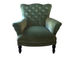Vintage Green Velvet Tufted Back Armchair