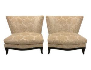 Donghia Ivory Cut Velvet Chairs