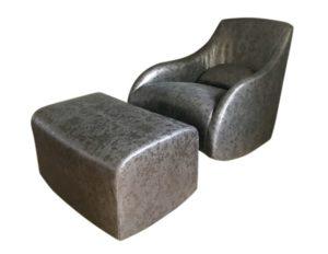 Custom Rocking Chair and Ottoman in Dessin Fournir Medea Leather