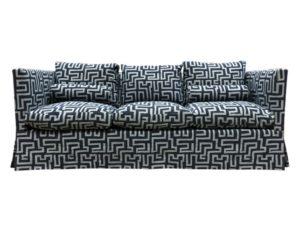 Zinc Textile Custom Upholstered Sofa in Kuba Cay Dalmation Fabric