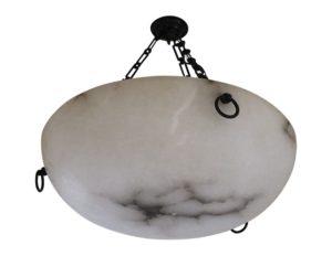 Vaughan Burton Alabaster Bowl Ceiling Light – Bronze, 2 Available