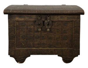 Antique Teak and Iron Dowry Box