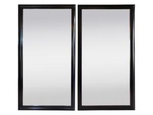 Full Length Black Framed Floor Mirrors, Pair