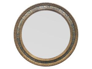 Round Gold and Blue Florentine Mirror