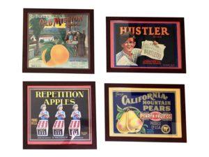 Framed Vintage Labels, Set of 4
