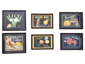 Framed Vintage Crate Labels, Set of 6