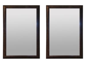 Burl Mahogany Veneer Framed Wall Mirrors, Pair