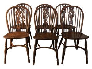 English Wheelback Windsor Dining Chairs, Set of 6