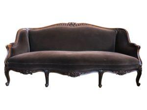 French Louis XV Style Brown Velvet Settee