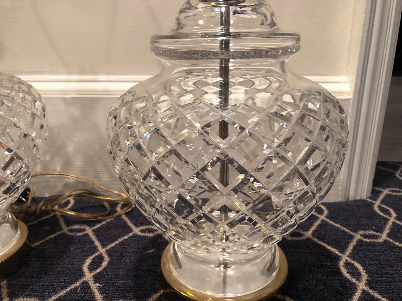 Vintage Signed Waterford Crystal Gl Ginger Jar Lamps Pair