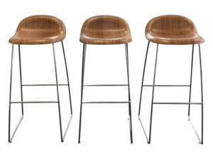 Modern Wood & Metal Bar Stools, Set of 3