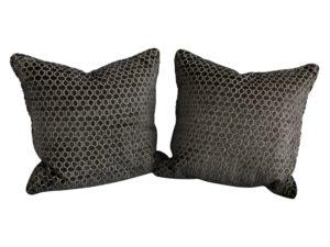 Grey Geometric Pillows, Pair