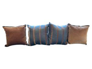 Ryan Studio Charcoal and Brown Velvet Pillows, Set of 4