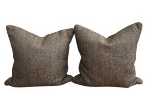Grey Herringbone Pillows, Pair