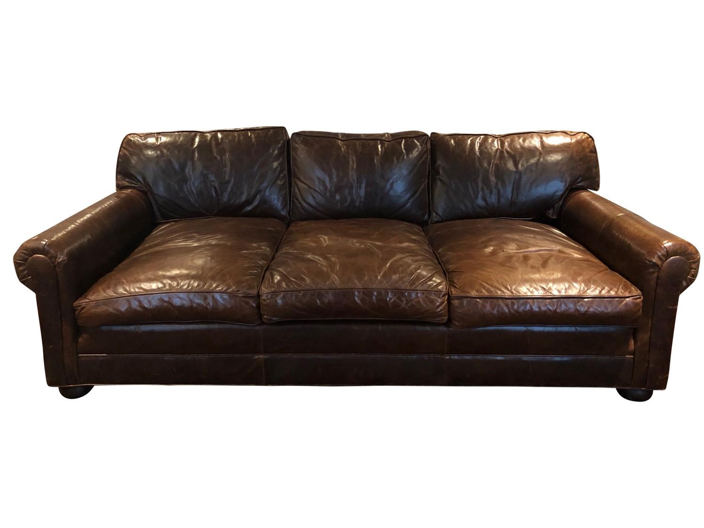 Restoration Hardware Leather English Roll Arm Sofa The Local Vault