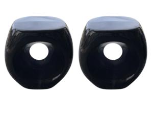 Black Glazed Ceramic Garden Stools, Pair