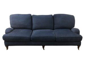 English Roll Arm Blue Cut Velvet Sofa