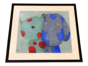 Cat & Dog Print, Signed