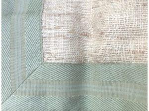 89″ Beige Raw Silk Curtains with Green Trim