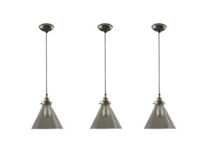 Glass & Steel Pendant Lights, Set of 3