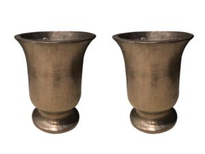 Metallic Glazed Planters, Pair