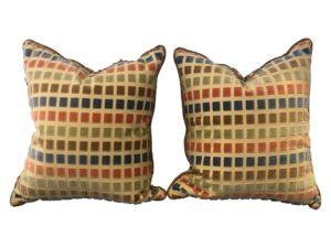 Cut Velvet Pillows, Pair