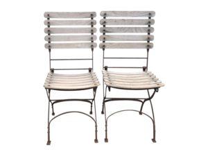 Folding European Side Chairs with Teak Slats, Set of 12