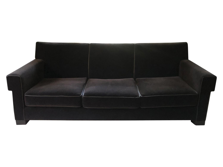 Holly Hunt Black Velvet Sofa with Leather Detail
