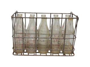 Vintage Milk Bottles with Carrier