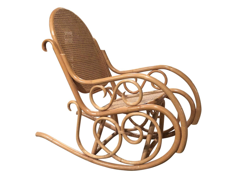 Terrific Vintage Mid Century Modern Thonet Style Cane Bentwood Rocking Chair Machost Co Dining Chair Design Ideas Machostcouk