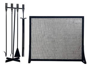 Iron Fireplace Screen & Tools
