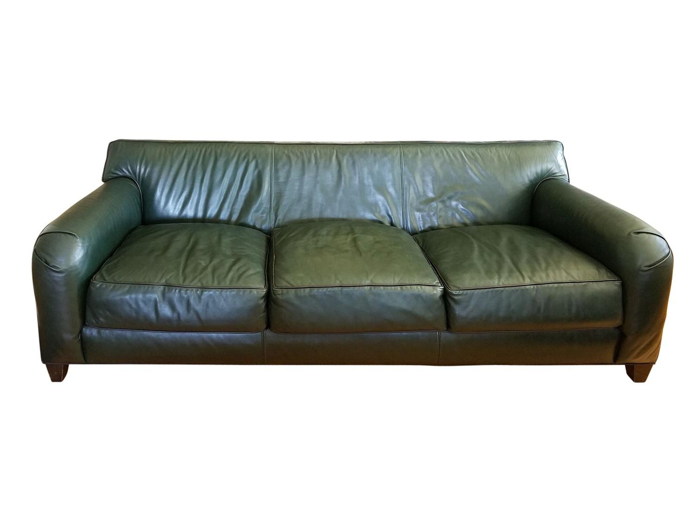 Custom Donghia Style Green Leather Sofa