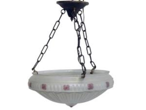 Antique Victorian Hanging Chandelier Bowl Light, circa 1910