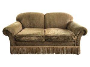 Edward Ferrell Skirted Green Velvet Sofa