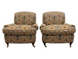 Custom J&P Upholstery Odom Club Chairs, Pair