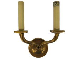 Visual Comfort Haberdasher Round 2-Light Brass Sconce