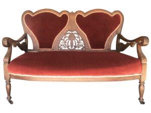 Vintage Carved Victorian Settee in Red Velvet