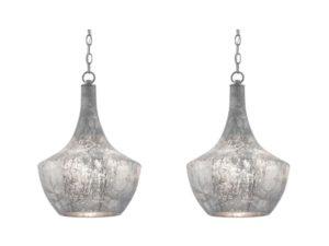Currey and Company  Segreto Single Light 14″ Wide Mercury Glass Pendants, Pair
