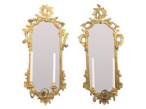 18th Century Italian Rococo Giltwood Mirrored Appliques, Pair