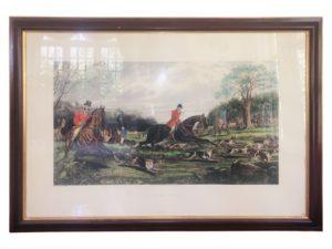 Framed E.G. Hester English Fox Hunt Engravings, Set of 4