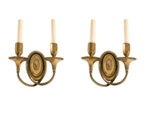 Chameleon Georgian Style Cross Double Brass Sconces, Pair