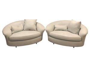 Single Cushion Light Blue Love Seats, Pair
