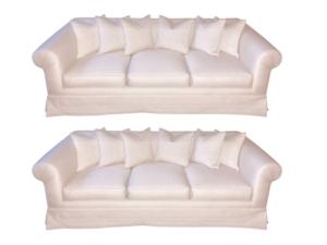 White Roll Arm Sofas, Pair