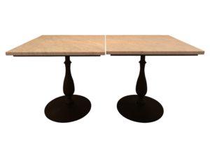 30 x 30 Custom Carrara Marble Bistro Tables, Pair