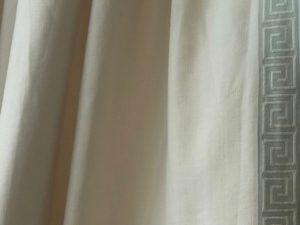64″ Duralee Pinch Pleat Curtains with Seafoam Green Greek Key Trim, Pair