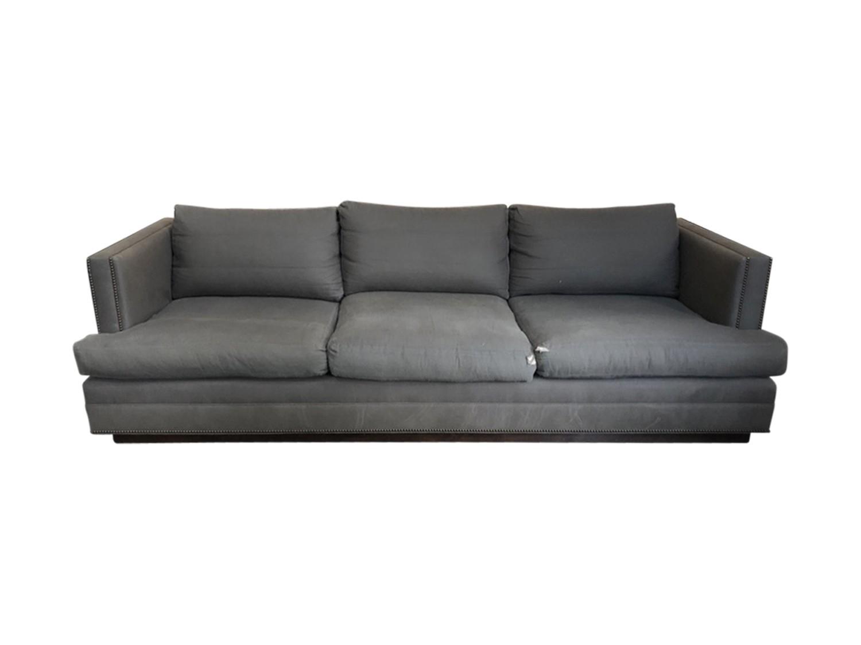 Hb Home Custom Grey Sofa With Nailheads