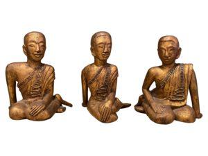 Gilt Wood Monk Statues, Set of 3