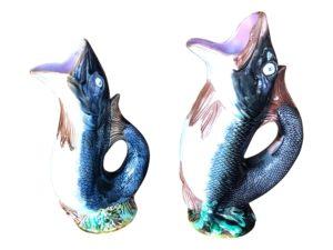 Antique Majolica Fish Pitchers, Pair