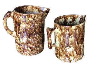 Antique Bennington Rockingham Pottery Water Pitchers