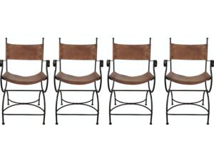 Charleston Forge Wrought Iron Leather Seat Bar Stools, Set of 4
